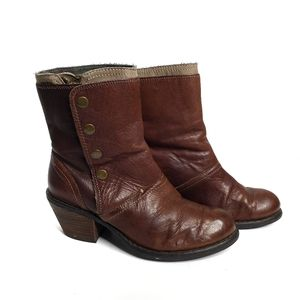 LUXURY REBEL Beck Brown Snap Leather Boots